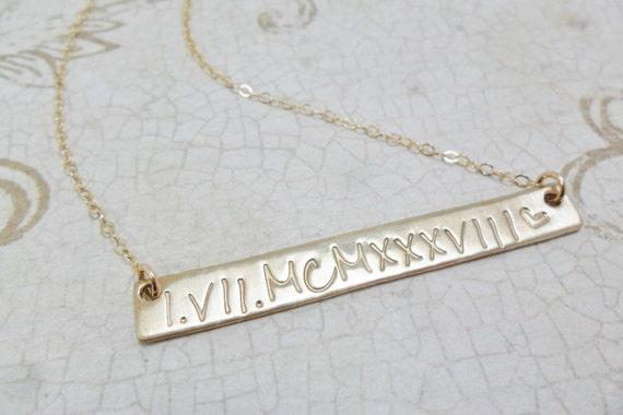 Custom Gold Bar Necklace - Horizontal Bar Necklace - Horizontal Gold Bar - Custom Date Jewelry - Custom Coordinates - Latitude Longitude
