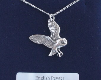 Barn Owl bird Necklace in Fine English Pewter, Handmade and Gift Boxed