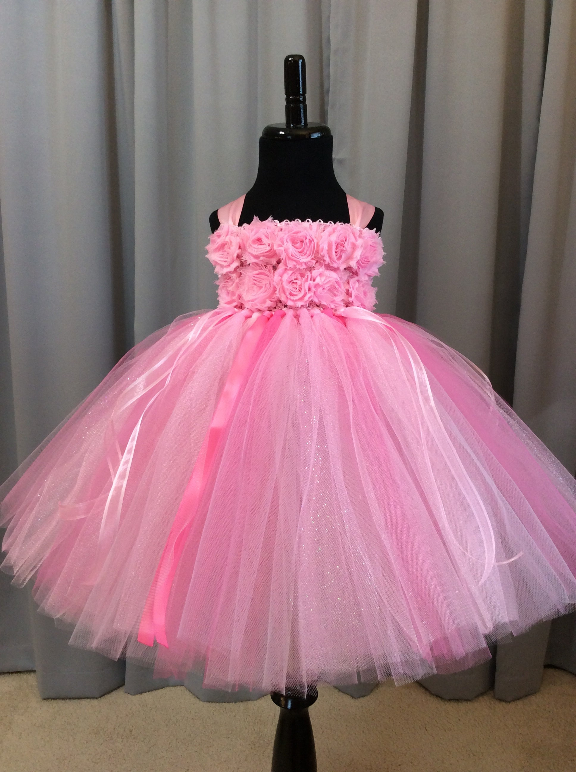 Pink Flower Girl Dress Shabby Flower Bodice Tulle Flower