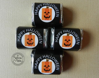 Square Pumpkin Halloween Nugget Wraps / Hershey Candy Wraps / Party Favor / Classroom Treat / You've Been Booed / Teacher Appreciation