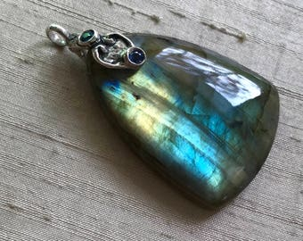 Labradorite and  Sapphires - Scroll Pendant