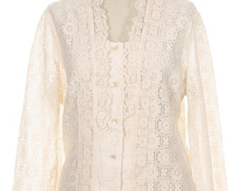 Tumbleweeds Cream Prairie Girl Vintage Lace Button Up Blouse Festival Top