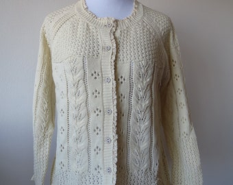 Crochet Lace Cardigan with Lace Hem One Size Rice White Creamy White Color