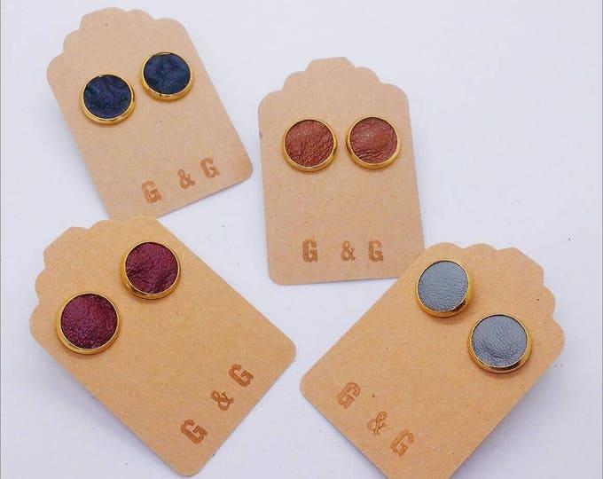 Earrings - RECLAIMED LEATHER STUDS