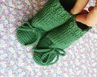 cotton merino long baby booties - knit baby booties - newborn knit boots - handknit boots
