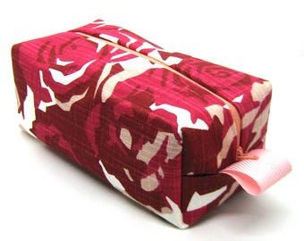 Makeup Bag Cosmetic Case - Red and Pink Geometric Floral