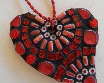 Red Mosaic Heart Ornament, Heart Mosaic, Valentine's Day Gift, Christmas Heart Ornament, Teacher Gift, Baby Shower Gift, Gift for Grandma