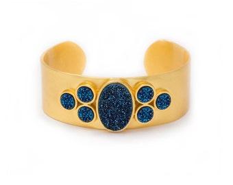Statement Cuff - Large Druzy Cuff - Royal Blue Druzy in Yellow Gold Cuff - Statement Bracelet - Druzy / Drusy / Drusie