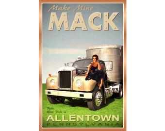 B-61 MACK TRUCK Natalie Wood New Original Retro Poster Semi Trailer High Fashion Pin Up Art Print 226