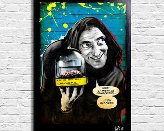 Igor from Young Frankenstein (Mel Brooks, Marty Feldman) - Pop-Art Original Framed Fine Art Painting, Image on Canvas, Artwork, Movie Poster