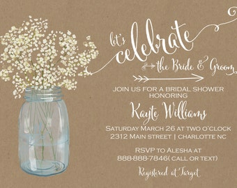 Mason Jar Babys Breath Country Bridal Shower Invitation Wedding Baby
