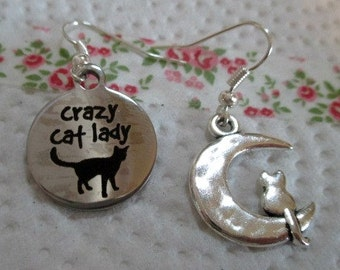 Crazy Cat Lady Mismatched Earrings - one pair