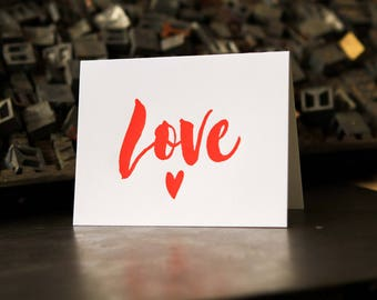 Love, letterpress greeting card