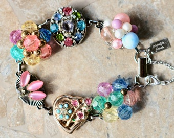Reclaimed Vintage Earring Bracelet, Bridesmaid Gift, Boho, Upcycled 1940 Under 40, Pink, Heart, Multicolor, Silver, Jennifer Jones, Confetti
