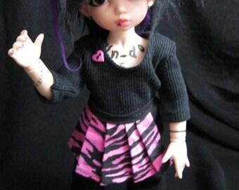 LTF/YOSD noir chemise, un Jean noir et zébré rose 1/2 jupe soldes prix