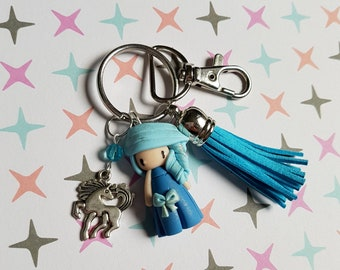 "Handbag charm girl ""hair blue dress, sky blue, horse charm"""
