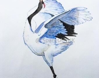 Japanese stork - print