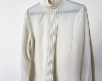 Vintage 1980s White Beaded High Neck Collar Button-Down Shirt Blouse with Pleat Detail and Pearl Beading