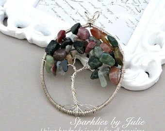 Tree of Life Pendant - FANCY JASPER, Oval Pendant, Wire Wrapped in Sterling Silver, OOAK, One-of-a-Kind