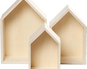 House Shape Storage Box - Set of 3 Boxes - Small Medium Large - Home Wall Shelf Display