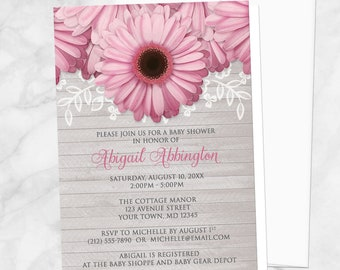 Pink Daisy Baby Shower Invitations - Rustic Light Gray Wood - Spring Shower, Summer Shower, or Daisy Shower - Printed Daisy Invitations