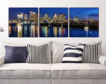 Boston Harbor and Boston Skyline on Canvas, Large Wall Art, Boston Print, Boston art, Downtown Boston, Boston Canvas, Large Canvas Art
