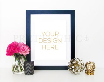 Styled Stock Photography - INSTANT DOWNLOAD - Stock Photo - Black Frame with Pink Flowers and Gold - Product Photography - Digital Image