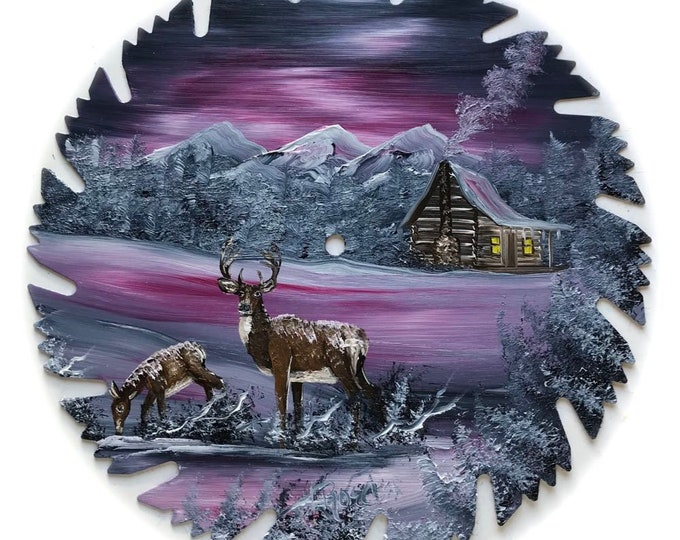Hand Painted Saw Blade Mountain Winter Mauve and Gray Cabin and Deer