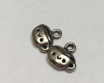 2 pc pewter cute coffee cup charm, cup charm, jewelry supplies