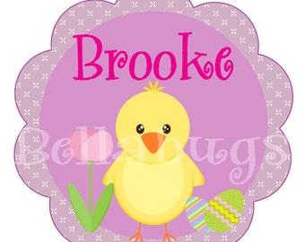 Easter Chick IRON ON TRANSFER- Personalized Easter Chick - Tshirt - Bodysuit - Tote Bags