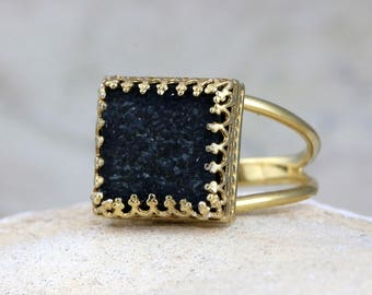 MOTHER'S DAY SALE - Black druzy ring,black ring,square ring,gemstone ring,semiprecious ring,gold ring,gold filled ring,customized rings