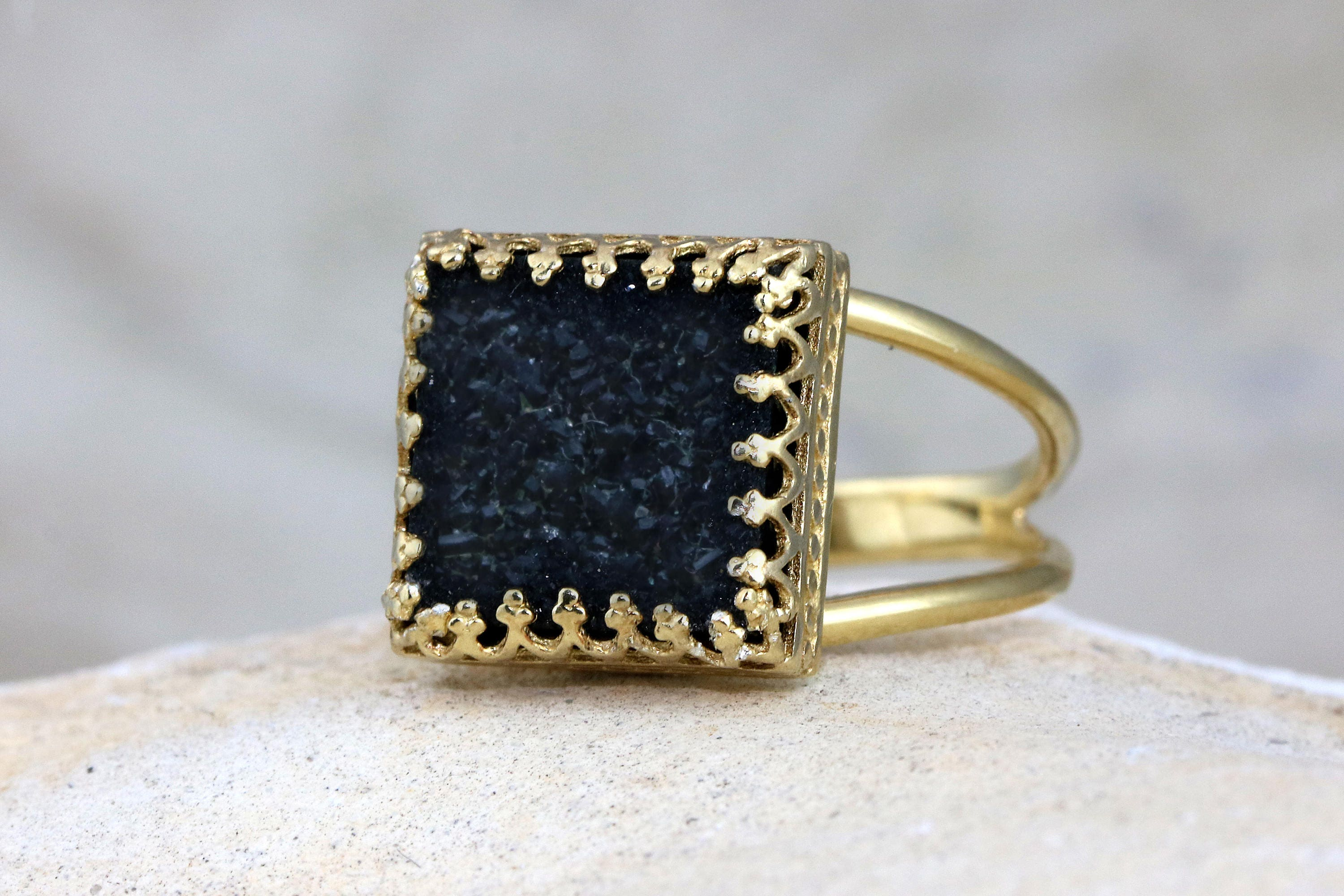 MOTHERS DAY SALE Black druzy ringblack ringsquare