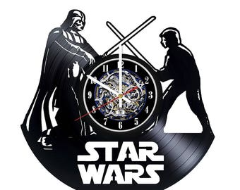Luke Skywalker vs Darth Vader Star Wars Vinyl Record Wall Clock - Get unique home wall decor - Gift ideas for men and women