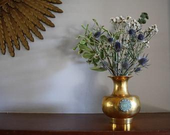 A Vintage Brass Vase with Medallion