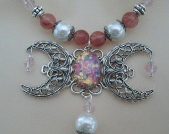 Triple collar de la diosa de la luna Wicca joyería joyería pagana wicca diosa joyería collar wiccan magia metafísica de brujería de la bruja