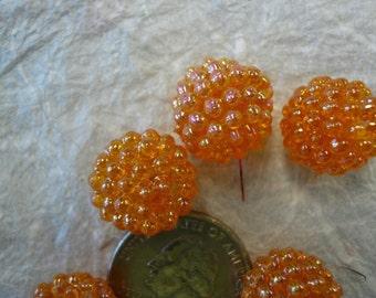 Vintage Raspberry Beads Tangerine (6) NOS