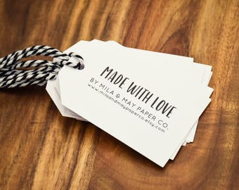 Made with Love Tags Personalised White Gift Tags Custom Card & Twine