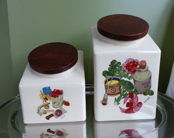 Ceramic Vintage Hyalyn Kitchen Canisters- Set of 2- Kitchen Motif-  Wood Lids- Wendy Wheeler- Made in USA Shrimp Oil Broccoli Tomato Butter