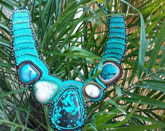Turquoise Bead Embroidered Collar Necklace