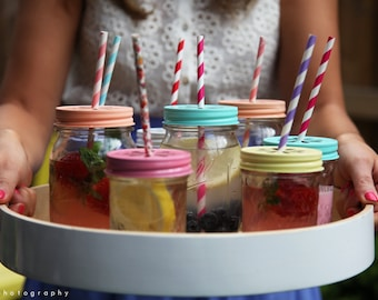 Pastel Daisy Ball Mason Drinking Jars 500ml