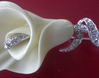 Vintage Estate Nolan Miller Calla Lily Flower Austrian Crystal Pin Cala Lily Brooch