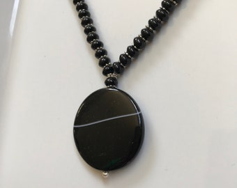 Black onxy & banded agate necklace