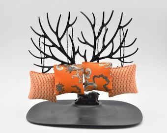 "Mini lavender pillows with hanger 4 pcs. Set 2.6x2.6"" Moth protection Easter Mothers day Gift idea Home decor Sachet orange gray"