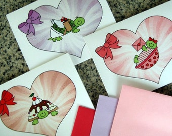 turtle love notes / notecards / valentines with colored envelopes (blank or custom printed inside) - set of 6