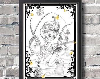 Pin up July Art Print Original Drawing Pop surrealism Illustration Portrait of a Girl Gift for Her