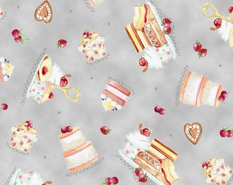 By The HALF YARD - Afternoon Delight by Quilting Treasures, Desert Toss on Gray Cotton Fabric, Pattern #23352 K