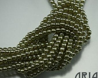 LIGHT CHARTREUSE: 2mm Czech Glass Pearl Beads (150 beads per strand)