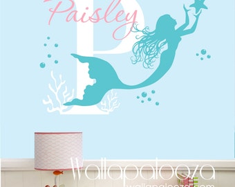 Mermaid Wall Decals Etsy - Personalized custom vinyl wall decals for nurserypersonalized vinyl etsy