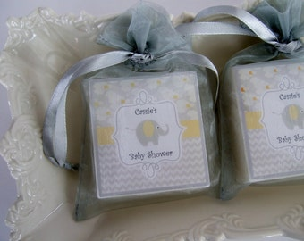 Baby Shower Favors, Elephant Baby Shower, Soap Favors, set of 10 Gray and Yellow Shower Favors