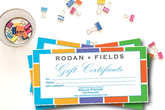 Rodan and Fields Gift Certificate Printed Version 4 x 8